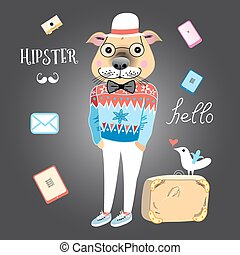 hipster dog - fashionable graphics dog hipster with a...