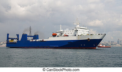 Roro Ship - A Blue Roro Ship is over sea
