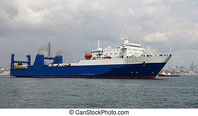 Roro Ship - A Blue Roro Ship is over sea