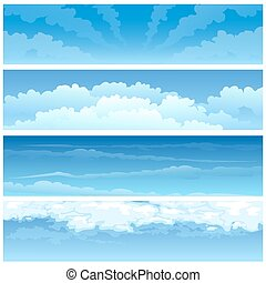 Skyscape set - Set of various day cloudscapes. Isolated on...