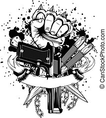 hand with knuckledusters pistols knifes - Vector...