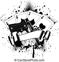 pistols and playing cards dice chips