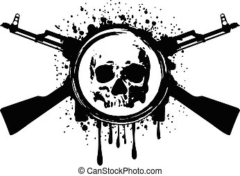 skull akm blood - Abstract vector illustration crossed...