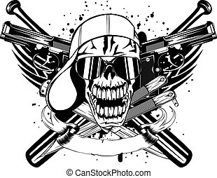 skull in cap knifes bats and two pistols