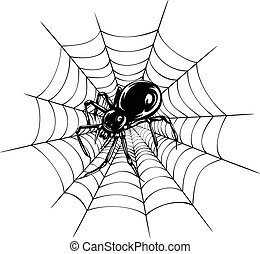 spider and web - Abstract vector illustration black spider...