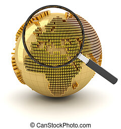 Globe with magnifying glass, economy outlook concept, 3d...