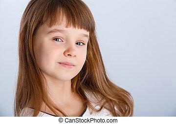 girl in white  - Smiling little girl in the white dress