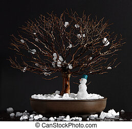 Elm bonsai tree with snowman