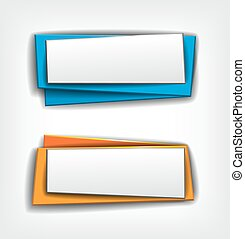 Vector set of origami paper banners