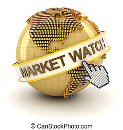 Market watch symbol with golden globe and hand cursor, 3d...