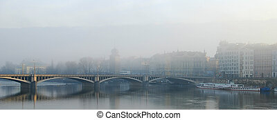 City view of Prague early in a foggy  morning