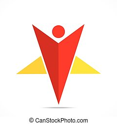 creative star shape men icon design concept vector