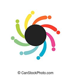 colorful abstract teamwork icon