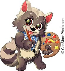 raccoon artist - beautiful and cute raccoon artist with a...
