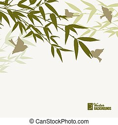Bamboo forest card. - Bamboo forest card with bird over fog...