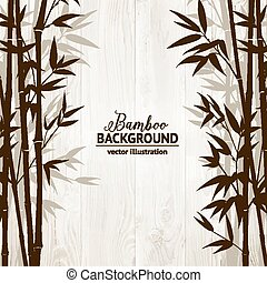Bamboo forest card. - Bamboo forest over wooden wall on...