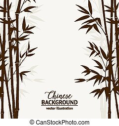 Bamboo forest card. - Bamboo forest over fog sky on...
