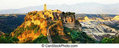 panorama of Civita di Bagnoregio - ghost medieval town,...