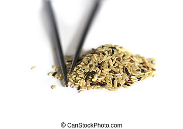 Rice isolated on white - Raw Rice with sticks isolated on...