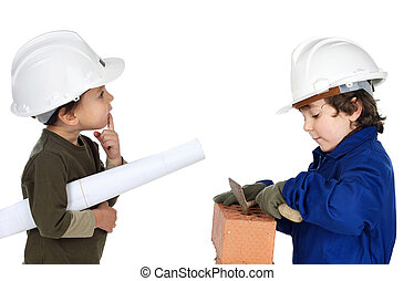Worker and supervisor a over white background
