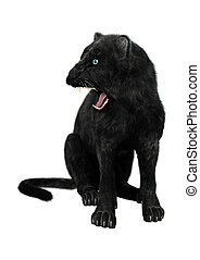 Black Panther - 3D digital render of a black panther...