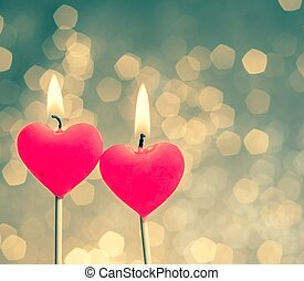 hearts candles on vintage bokeh as background vintage style...