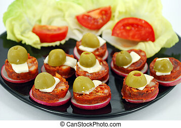 delicatessen with olives and salad