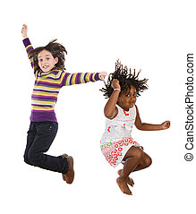 Children jumping at once - Two happy children jumping at...