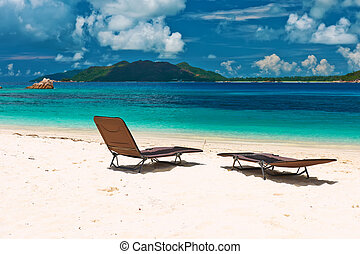 Tropical beach at Seychelles with