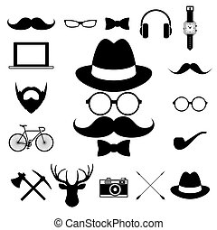 Hipster retro vintage elements icon set.
