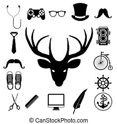 Hipster retro vintage elements icon set. Illustration eps10