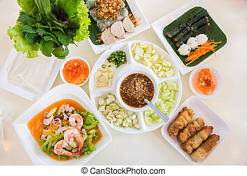 Vietnam Food Set on the table