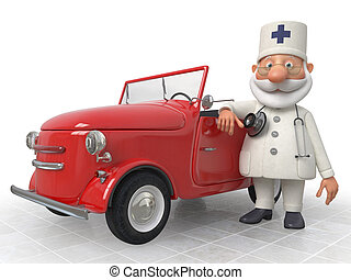 The 3D Doctor costs near car - Work of an emergency medical...