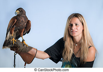 Woman and buzzard