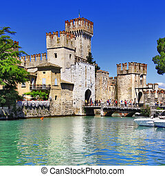 Sirmione on lake Lago di Garda - medieval castle Scaliger in...