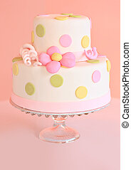 Wedding cake - Beautiful pink wedding cake, shallow dof,...