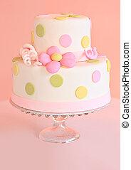 Wedding cake - Beautiful pink wedding cake, shallow dof,...