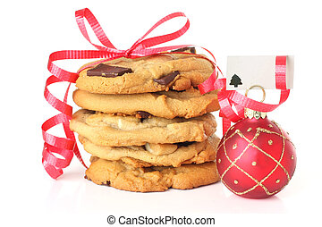 Christmas cookies wrapped in ribbon. Add your own text on...