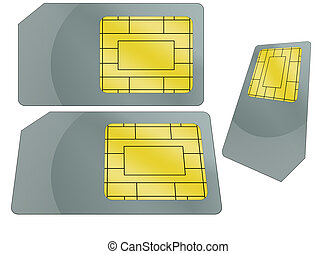 SIM Card Illustration - Isolated sim card illustration with...