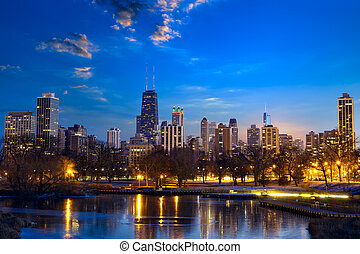 Chicago skyline at dusk, IL, United States
