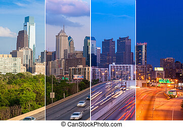 Philadelphia skyline day to night montage - Pennsylvania - USA -
