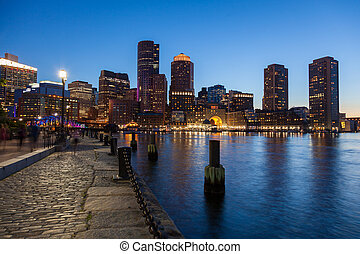Boston skyline by night - Massachusetts - USA -- United...