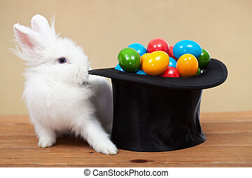 Magical easter with rabbit and colorful eggs in magician hat...