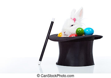 Cute white rabbit with colorful easter eggs in magician hat...