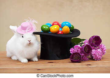 Cute easter bunny with spring flowers and colorful eggs in...
