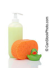 Rubber duck, soap and sponge