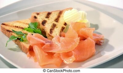 Fresh salmon rotating - Fresh salmon appetizer