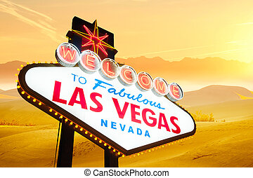 bienvenida, a, Las, Vegas, señal,
