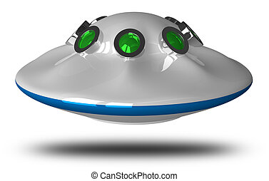 Flying saucer isolated on white background