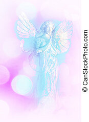 A white and blue angel background